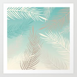 Palm leaves in soft bluish pastel colors Art Print