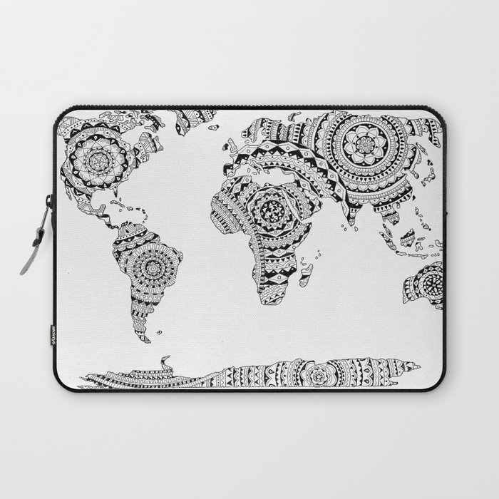 Mandala World Map Laptop Sleeve By Noshortsupply Society - Mandala map of the world