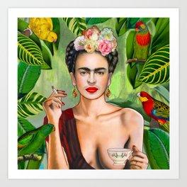 Frida con Amigos Art Print