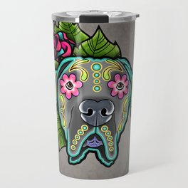 Great Dane with Floppy Ears - Day of the Dead Sugar Skull Dog Travel Mug