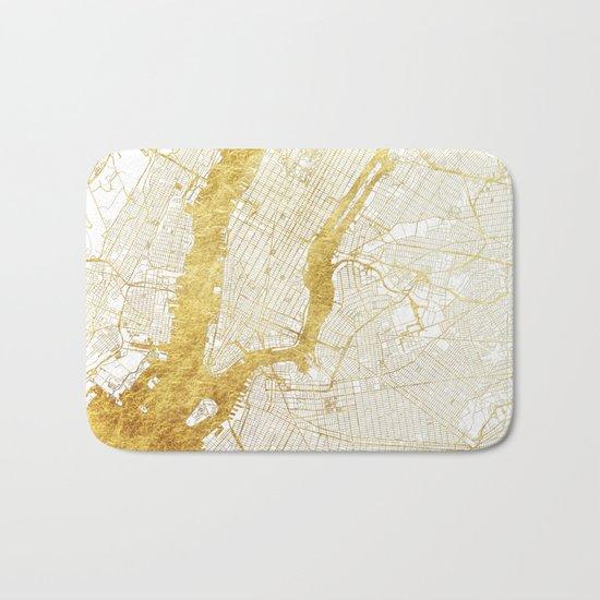 New York Map Gold Bath Mat