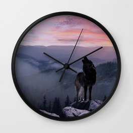 Lone Wolf at Sunset Ridge Wall Clock