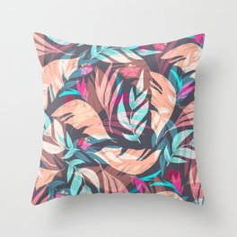 Tropical Exotic Flowers Hand Drawn Style Throw Pillow