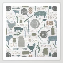 Modern Farmhouse // Gather Round & Give Thanks Art Print