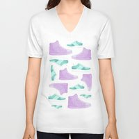 sneakers V-neck T-shirts featuring WATER, COLORS AND SNEAKERS by Catalina Graphic