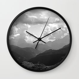 Mountain Ridges and Clouds Alps Alpine Landscape Wall Clock