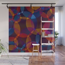 Abstract soap made of cosmic transparent blue circles and orange bubbles on a dark background. Wall Mural