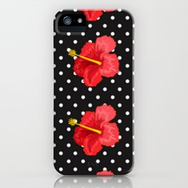 Red hibiscus and white dots iPhone Case