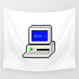 Hello World in Pixel Style Wall Tapestry