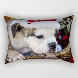 Brindle English Bulldog Puppy Wearing Santa Hat Looking out of a Basket Rectangular Pillow