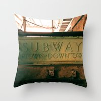 subway Throw Pillows featuring Subway by Kimball Gray