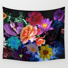 Colorful Fractal Flowers Wall Tapestry