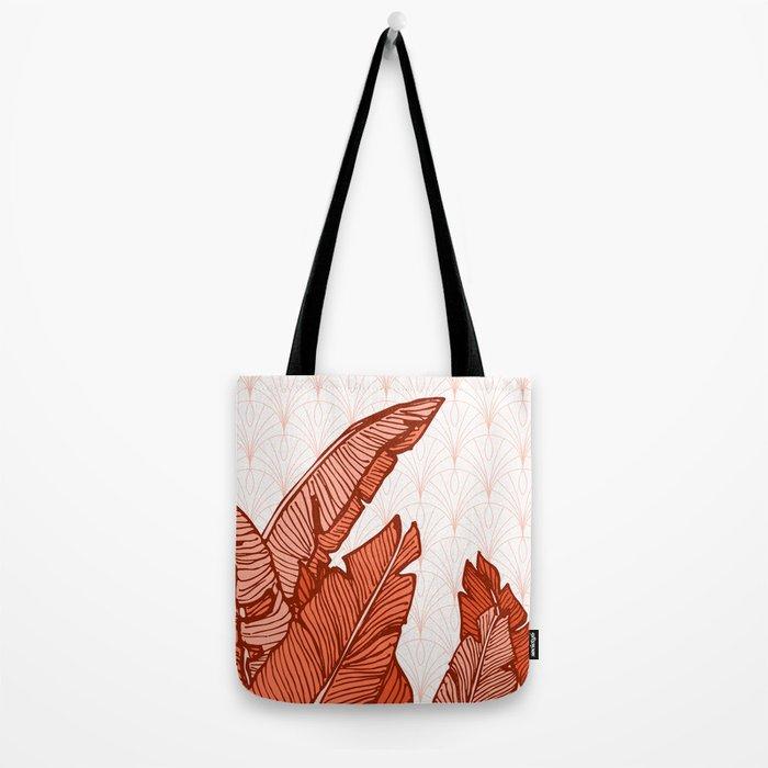 Red Tropical Leaves #society6 #decor #buyart Tote Bag