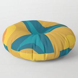 Retro Groove Mustard Teal - Minimalist Mid Century Abstract Pattern Floor Pillow