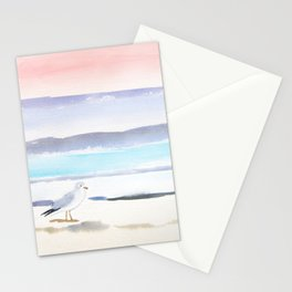 Seagull Ocean Pastels Watercolor Stationery Cards