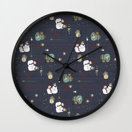 Christmas Stamps Pattern Wall Clock