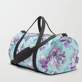 Amethyst Crystal Clusters / Violet and Aqua Duffle Bag