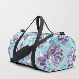 Amethyst Crystal Clusters / Violet and Aqua Duffle Bag