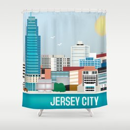 Jersey City, New Jersey - Skyline Illustration by Loose Petals Shower Curtain
