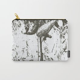 Milkweed Plant in Black and White Carry-All Pouch