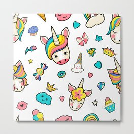 Pattern with cute faces of unicorns, ice cream, stars, hearts, donut, rainbow, crowns, cupcake. Dreaming unicorns in bright colors Metal Print