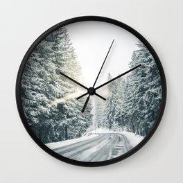 icy road w/ sun Wall Clock