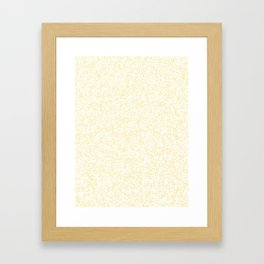 Tiny Spots - White and Blond Yellow Framed Art Print