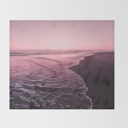 Rose Gold Beach Sunset Throw Blanket