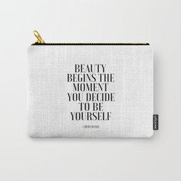 Girls Quote Beauty Begins Fashion Wall Art FASHIONISTA Poster Home Decor Quote Carry-All Pouch