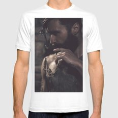 in darkness, there is light MEDIUM White Mens Fitted Tee