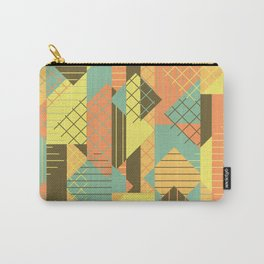 Squares Grids Stripes I (Modern Retro Color Palette) Carry-All Pouch