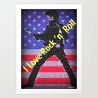 rock n roll Art Prints featuring Love Rock n Roll by elkart51