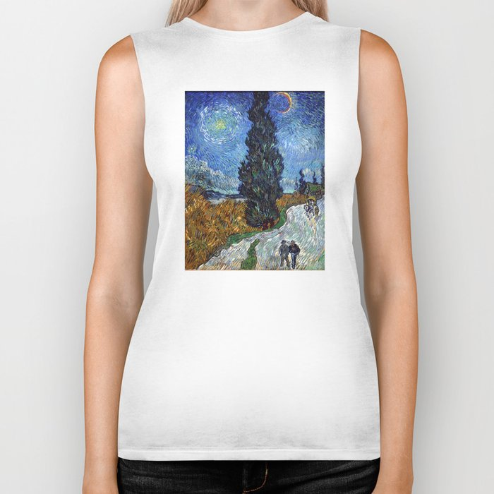 Vincent van Gogh - Road with Cypress and Star Biker Tank
