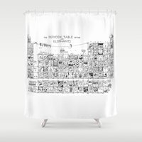 periodic table Shower Curtains featuring Periodic Table of the Elephants by DS Art