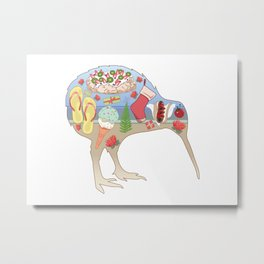 Kiwiana Summer Christmas Metal Print