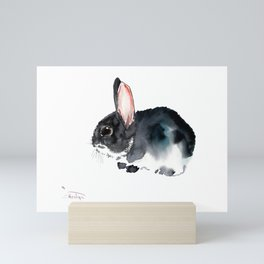 Bunny, Cute gray bunny Nursery Art children room watercolor bunny art Mini Art Print