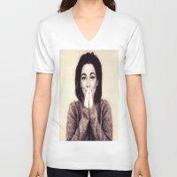bjork V-neck T-shirts featuring Mommie Bjork by Wanker & Wanker
