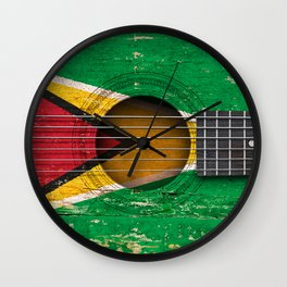 Old Vintage Acoustic Guitar with Guyanese Flag Wall Clock