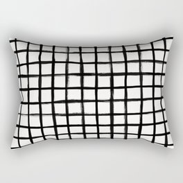 Strokes Grid - Black on Off White Rectangular Pillow