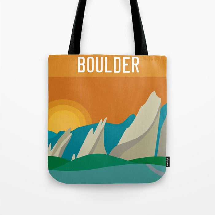 Boulder, Colorado - Skyline Illustration by Loose Petals Tote Bag