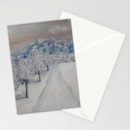 Winter Path, Original Contemporary Oil Painting, Modern Art, Fine Art by Lu aka Luna Smith Stationery Cards