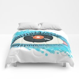 Musical vision: eye illustration with vinyl record for pupil Comforters