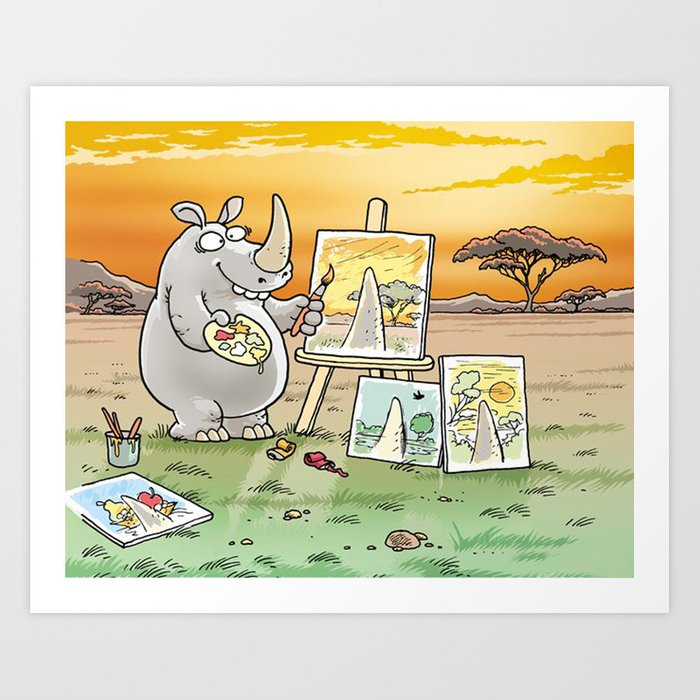 Rhino The Artist Art Print