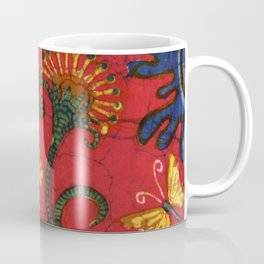 batik butterflies and flowers on red 2 Coffee Mug