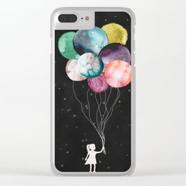 Little girl with balloons Clear iPhone Case