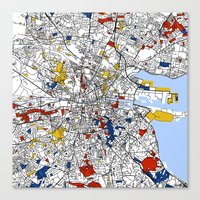 dublin Canvas Prints featuring Dublin by Mondrian Maps