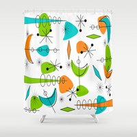 mid century modern Shower Curtains featuring Mid-Century Modern Space Age by Kippygirl