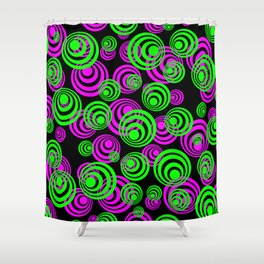Neon Green and Pink Circles Shower Curtain