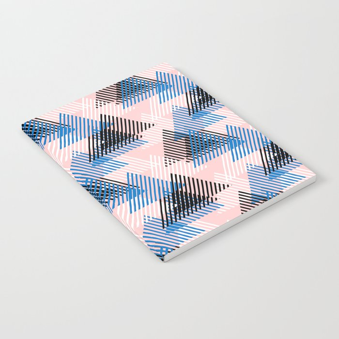 Abstract Dynamic Shapes In Pink Blue White Black Colors Notebook By Tukkki