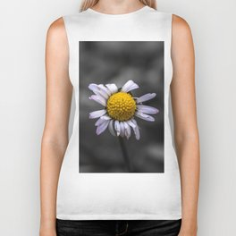 Almost naked daisy in black and white background Biker Tank